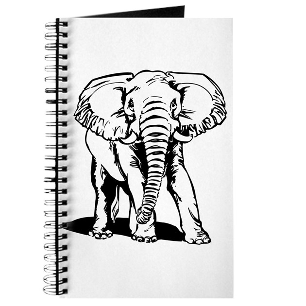 Line Art Journal : Cute black elephant line drawing journal by admin cp