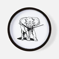 Cute Black Elephant Line Drawing Wall Clock
