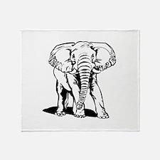 Cute Black Elephant Line Drawing Throw Blanket