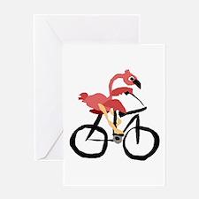 Flamingo on Bike Greeting Cards