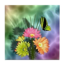 Painted Daisies and Butterfly Tile Coaster