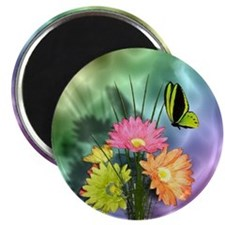 Painted Daisies and Butterfly Magnet