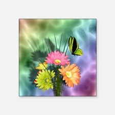 """Painted Daisies and Butterf Square Sticker 3"""" x 3"""""""