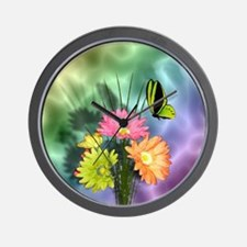 Painted Daisies and Butterfly Wall Clock