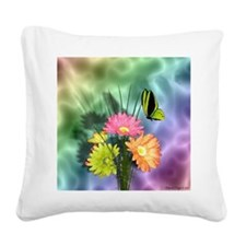Painted Daisies and Butterfly Square Canvas Pillow