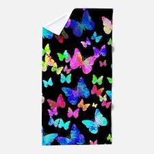Psychedelic Butterflies Beach Towel