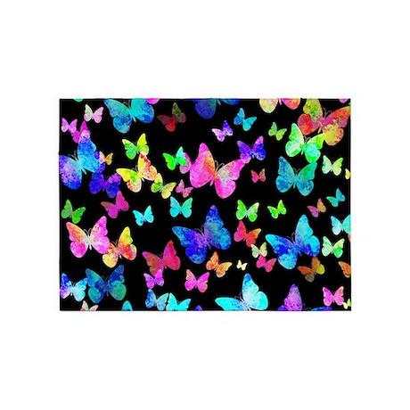 Psychedelic Butterflies 5u0027x7u0027Area Rug
