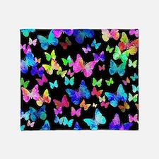 Psychedelic Butterflies Throw Blanket