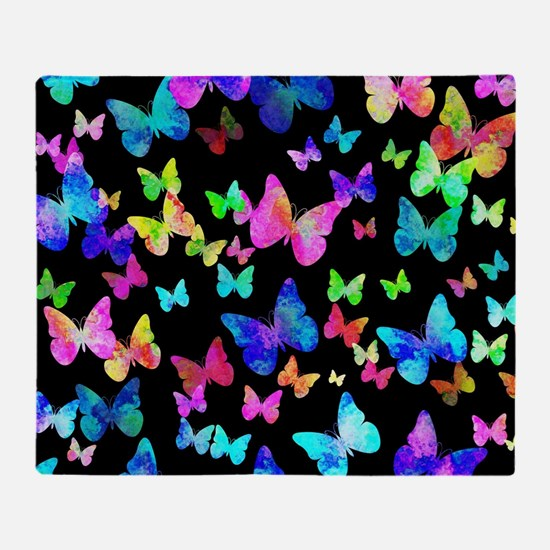 Psychedelic Butterflies Throw Blanket