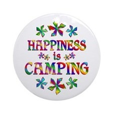 Happiness is Camping Ornament (Round)