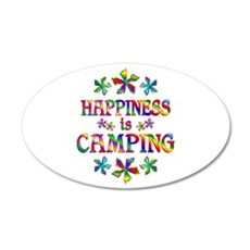 Happiness is Camping 35x21 Oval Wall Decal