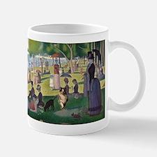 Dog running in Seurat's painting Mugs