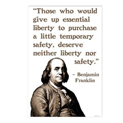Ben Franklin on Liberty and Security Postcards