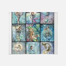 Molly Harrison Mermaids Fantasy Art Throw Blanket