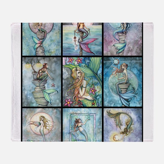 Molly Harrison Mermaids Fantasy Art Throw Blanket