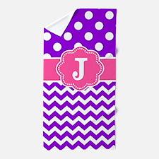 Purple Pink Dots Chevron Monogram Beach Towel