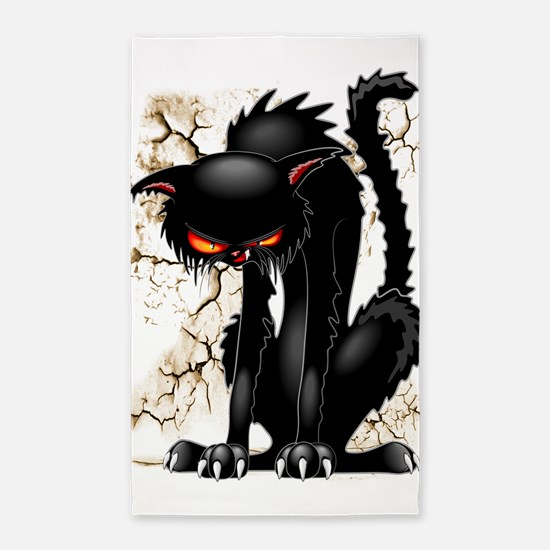 Black Cat Evil Angry Funny Character Area Rug