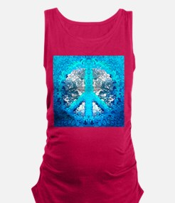 Abstract Blue Peace Sign Maternity Tank Top