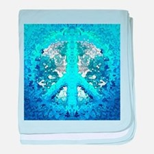 Abstract Blue Peace Sign baby blanket