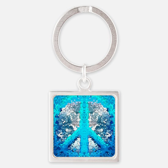 Abstract Blue Peace Sign Keychains