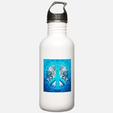 Abstract Blue Peace Sign Water Bottle