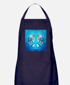 Abstract Blue Peace Sign Apron (dark)