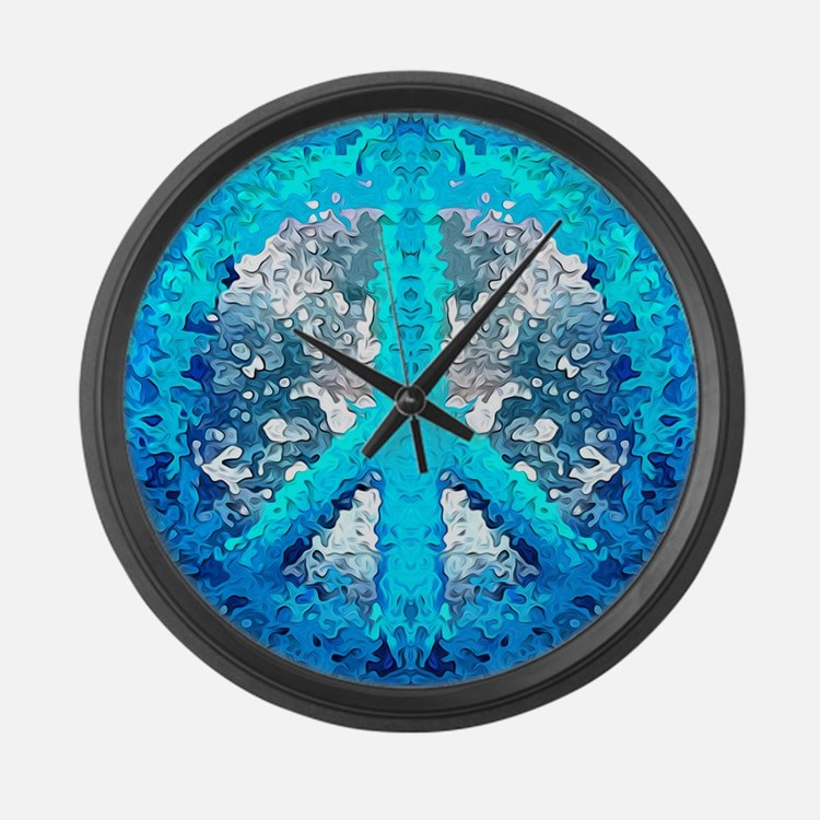 Abstract Blue Peace Sign Large Wall Clock