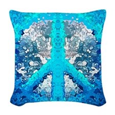 Abstract Blue Peace Sign Woven Throw Pillow
