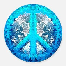 Abstract Blue Peace Sign Round Car Magnet