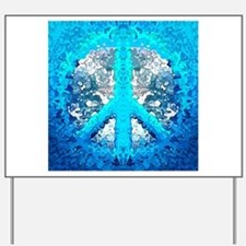 Abstract Blue Peace Sign Yard Sign