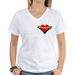 Geocaching Heart Pocket Image Women's V-Neck T-Shi