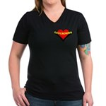 Geocaching Heart Pocket Image Women's V-Neck Dark