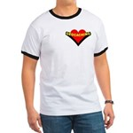 Geocaching Heart Pocket Image Ringer T