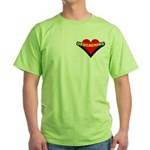 Geocaching Heart Pocket Image Green T-Shirt