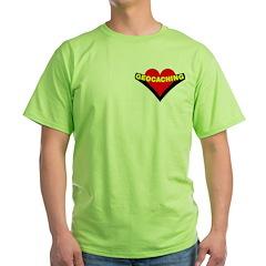 Geocaching Heart Pocket Image Green T-Shirt