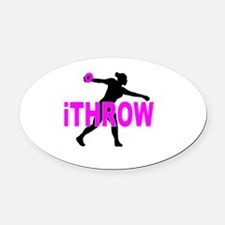 Pink Discus Oval Car Magnet
