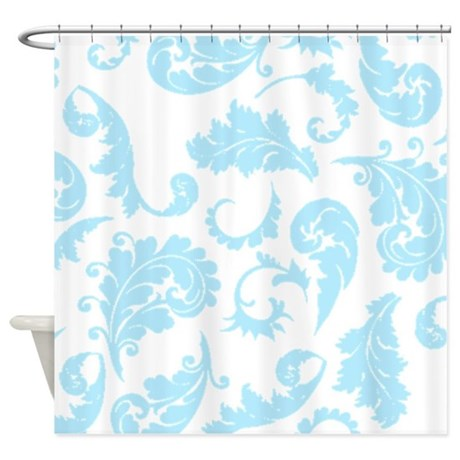 baby blue damask pattern shower curtain by showercurtainsworld