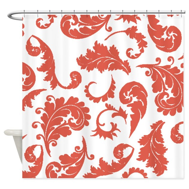 Coral Damask Pattern Shower Curtain By ShowerCurtainsWorld