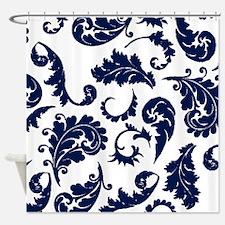 navy damask pattern Shower Curtain
