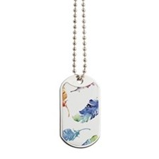 Watercolor Feathers Dog Tags