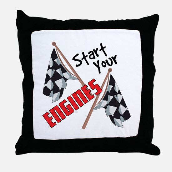 Start Your Engines Throw Pillow
