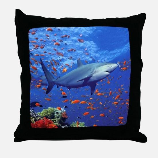 Colorful Shark Throw Pillow