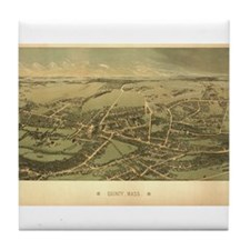 Antique US Maps Quincy, MA 18 Tile Coaster