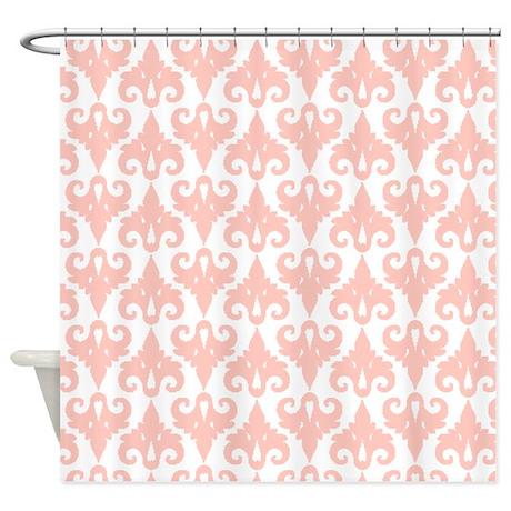 Peach Damask Pattern Shower Curtain By ShowerCurtainsWorld