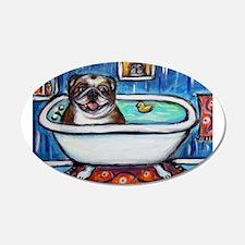 English Bulldog Bathtime Wall Decal