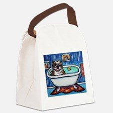 English Bulldog Bathtime Canvas Lunch Bag