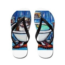 English Bulldog Bathtime Flip Flops