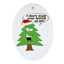 Christmas Tree Harassment Oval Ornament