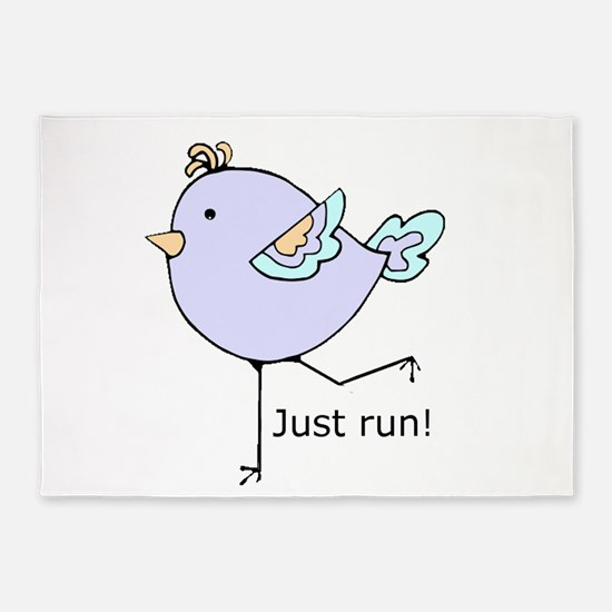 Just Run Runner's Quote Cute Running Bird for Moti