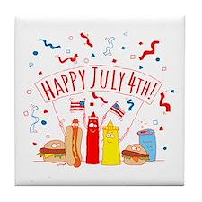 Happy July 4th Picnic Tile Coaster